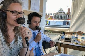 Cath Bishop commentatiing at Henley Regatta